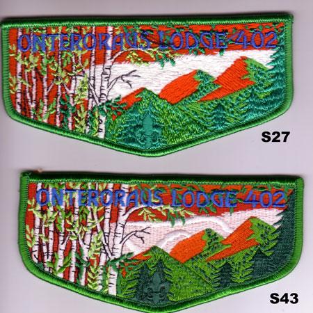 Onteroraus Lodge #402 S27 and S43 Brotherhood Flaps