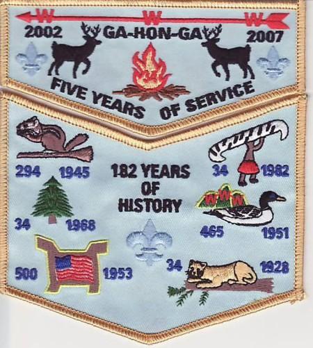 Ga-Hon-Ga Lodge #34 5th Anniversary Set F1 X7