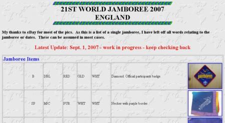 World Jamboree 2007 Listing Website