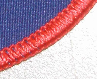 Rolled Edge with Red Lock Stitch