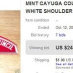 CAYUGA COUNTY COUNCIL RED AND WHITE SHOULDER PATCH