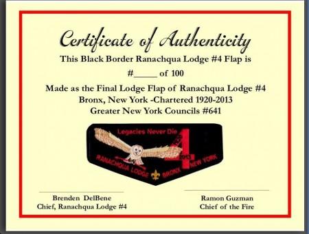 Ranachqua Lodge #4 Numbered Death Flap F8