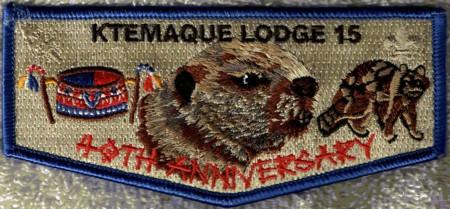 Ktemaque Lodge #15 40th Anniversary Blue Border Flap S58
