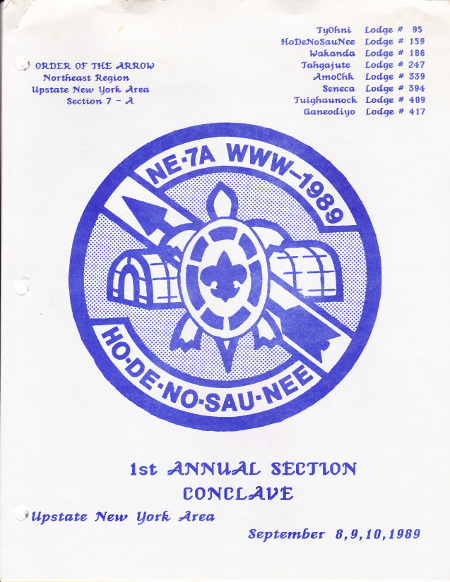 Section NE-7A 1989 Blue Conclave Booklet