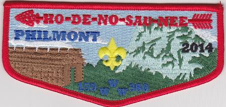 Ho De No Sau Nee Lodge #159 2014 Red Bordered Philmont Flap S54