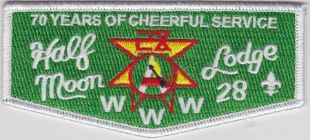 Half Moon Lodge #28 70th Anniversary White Bordered Flap S50