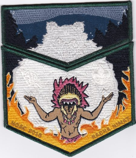 Nacha Nimat Lodge #86 2018 NOAC Set Green Mylar Border Orange Flames Set S58b/X38b