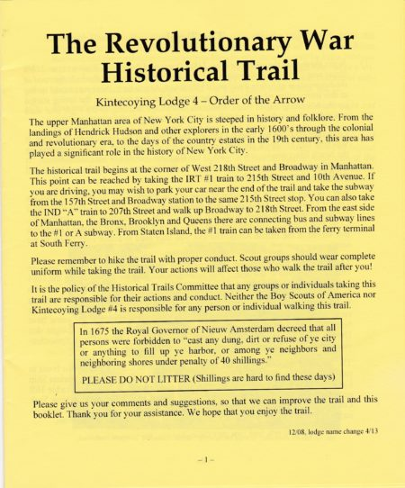 Kintecoying Lodge #4 Revolutionary War Trail Booklet