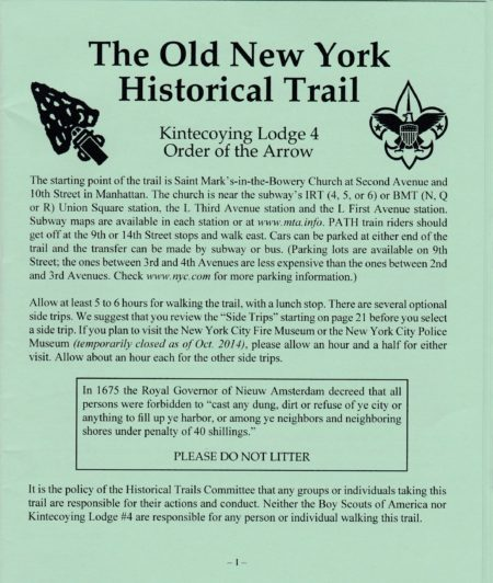Kintecoying Lodge #4 The Old New York Trail Booklet