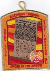 Northeast Region OA Region Chief 2006 NOAC Pocket Patch